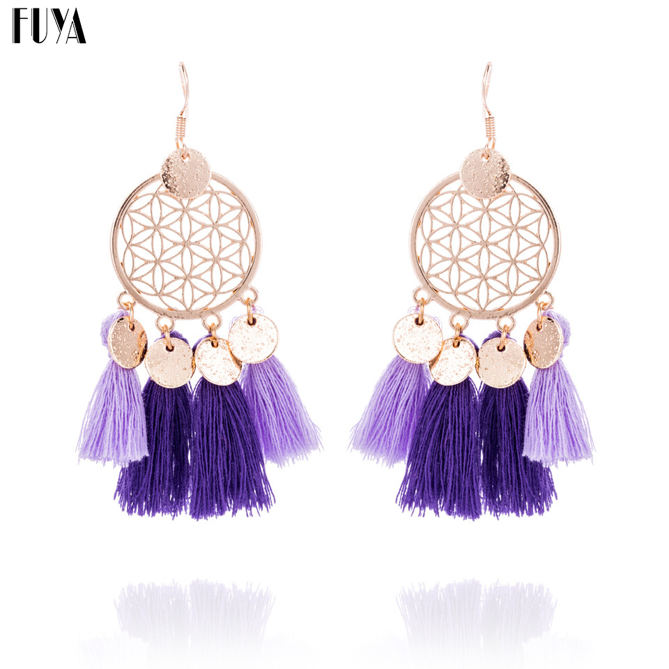 Ethnic Dreamcatcher Big Flower Handmade Bohemia Earrings For Women Vintage  Long Cloth Tassels Earring Jewelry Statement