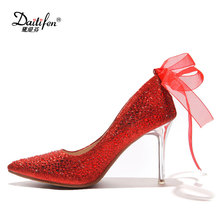 Daitifen Wedding bridal elegant Rhinestone high heel shoes beautiful Ribbon decoration super high Transparent heel lady pumps
