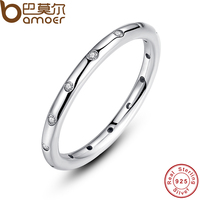 BAMOER 925 Sterling Silver Droplets Stackable Finger Ring For Women Wedding Original Fine Jewelry PA7132
