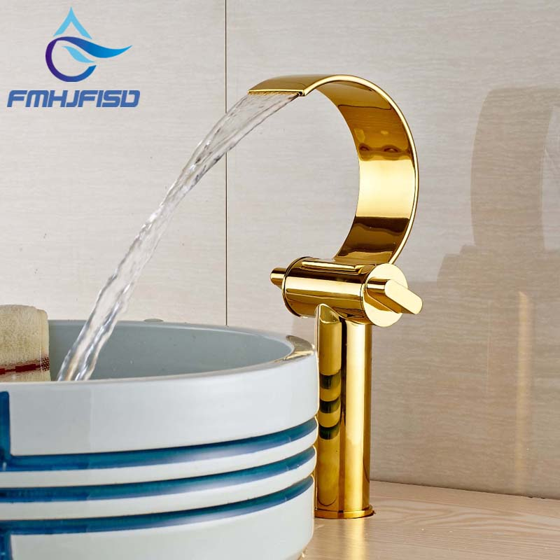 Wholesale And Retail Single Hole Deck Moutned Tall Bathroom Faucet Vanity Sink Mixer Tap Solid Brass Faucet wholesale and retail rose golden deck mounted brass basin faucet single handle hole vanity sink mixer tap