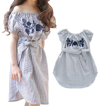 Mother Daughter Family Matching Outfits- Stripe with Flower Embroidered Off Shoulder Dresses