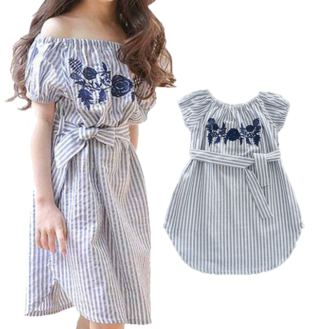 eca71309cfc6 Mother Daughter Dresses Family Matching Outfits Fashion Stripe Dress Mom  Girl Clothes Flower Embroidered Off Shoulder Dresses