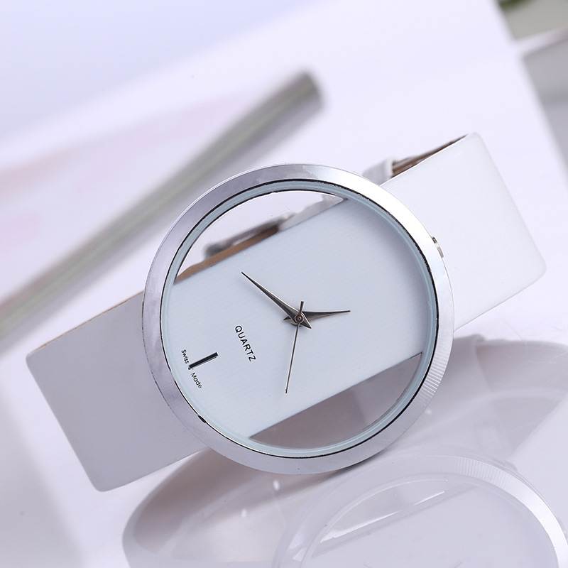 Casual belt watch simple dial quartz watch fashion transparent hollow Quartz in Women 39 s Watches from Watches