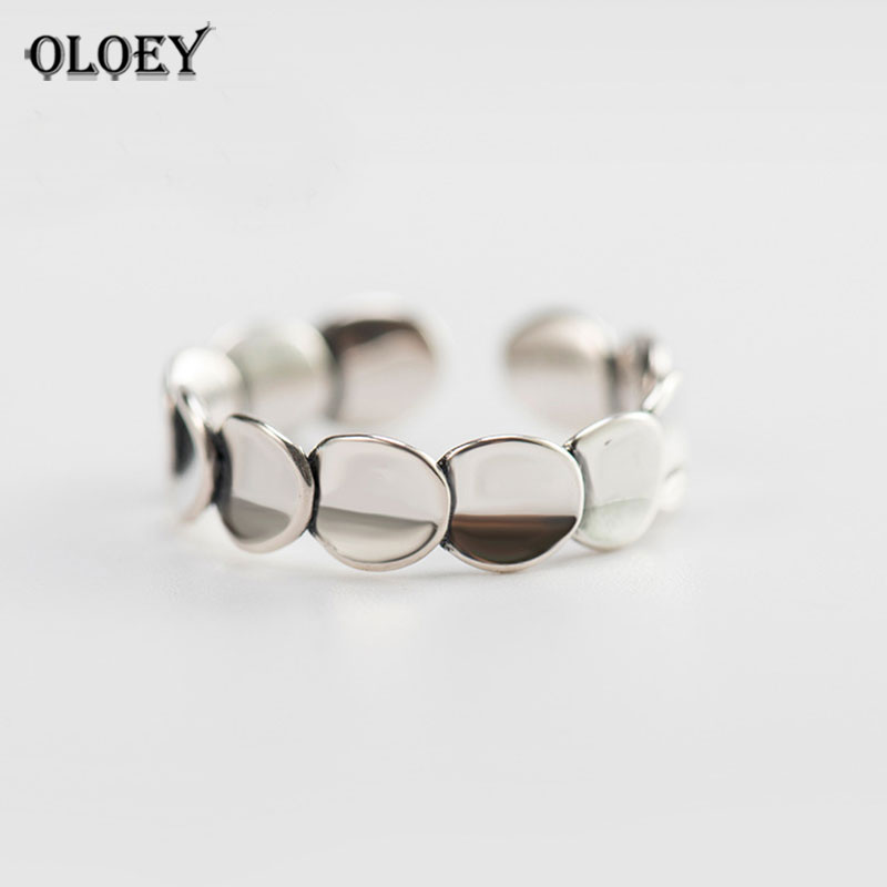 OLOEY Vintage Plain Stackable Rings for Women Ladies Real 925 Sterling Silver Opening Adjustable Finger Ring Fine Jewelry YMR203