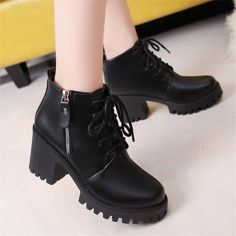 COOTELILI Women Leather Boots High Heels Platform Ankle Boots Ladies Casual Shoes Woman Lace up zipper Black 35-39 цены