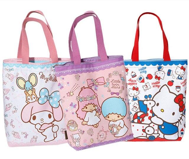 ad61b3aa6f Kawaii Hello Kitty Cat Canvas Bag Women Shoulder Bag Melody Little Twin  Stars Cartoon Printing Handbag