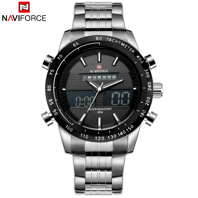 NAVIFORCE Men Watches Top Luxury Brand Waterproof Date Clock Male Full Steel Casual Quartz Sport Wrist Watch Relogio Masculino 2017 luxury brand binger date genuine steel strap waterproof casual quartz watches men sports wrist watch male luminous clock