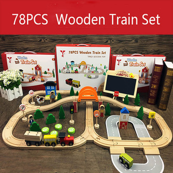 Wooden Train Track Toys Magical Brio Magnetic Rail Bridge Station Magnetic Car Wooden Railway Educational Children's Day Gifts