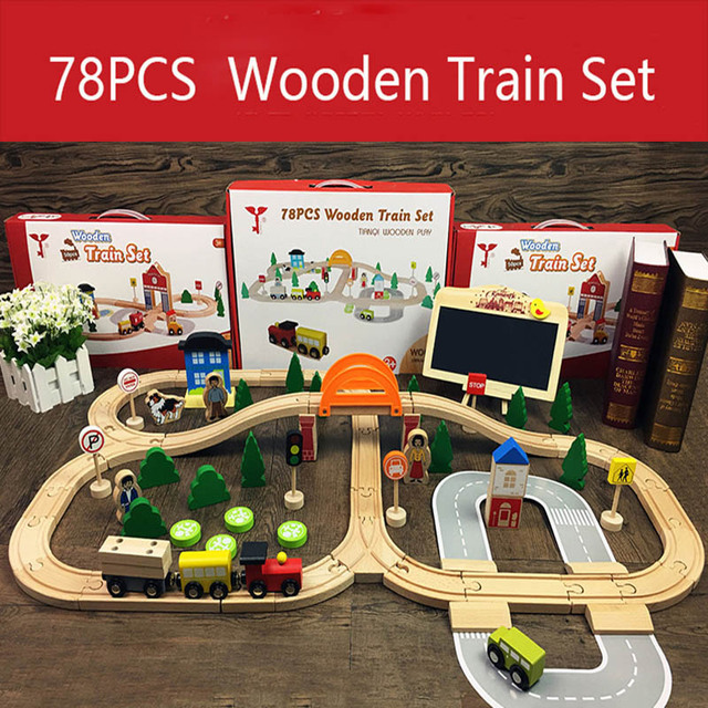 Wooden Train Track Toys Magical Brio Magnetic Rail Bridge Station Magnetic Car Wooden Railway Educational Toys For Children