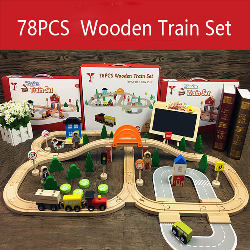 Wooden Train Track Toys Magical Brio Magnetic Rail Bridge Station Magnetic Car Educational Toys For Children
