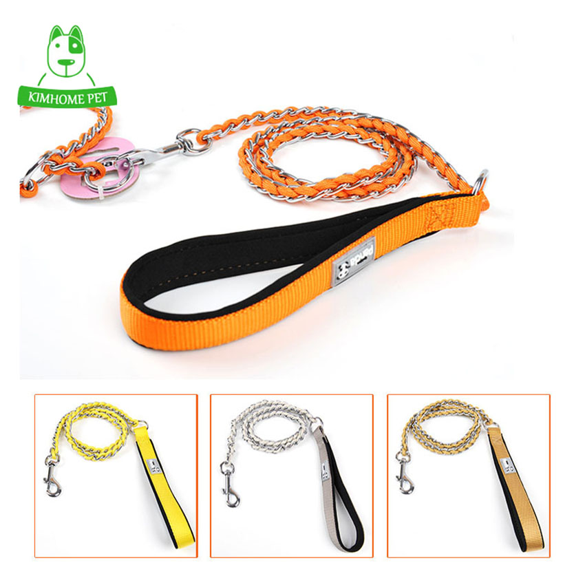 4 Color Sided Wear Strip Nylon Chain Pet Leashes Long Walking Dog Leashes S M
