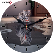hot deal buy meistar cute cat wall clocks modern design silent living study room decoration home decor watches large wall clocks