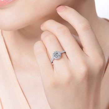 Kissen Geschnittenes Braut Set   Solide 18 K Weiß Gold Engagement Braut Set Center 1ct 6,5 MM Runde Kissen Cut Halo Moissanite Ring Set Für Frauen