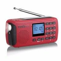TIVDIO HR-11W FM/AM Météo NOAA D'urgence Radio Manivelle Solaire Radio Bluetooth MP3 Lecteur Numérique Enregistreur Portable F9208C