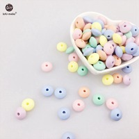 Let's Make Silicone Beads Abacus 50pc Soft Pastel Candy Color Food Grade Sensory Baby Teether Diy Crafts Chewable Baby Beads