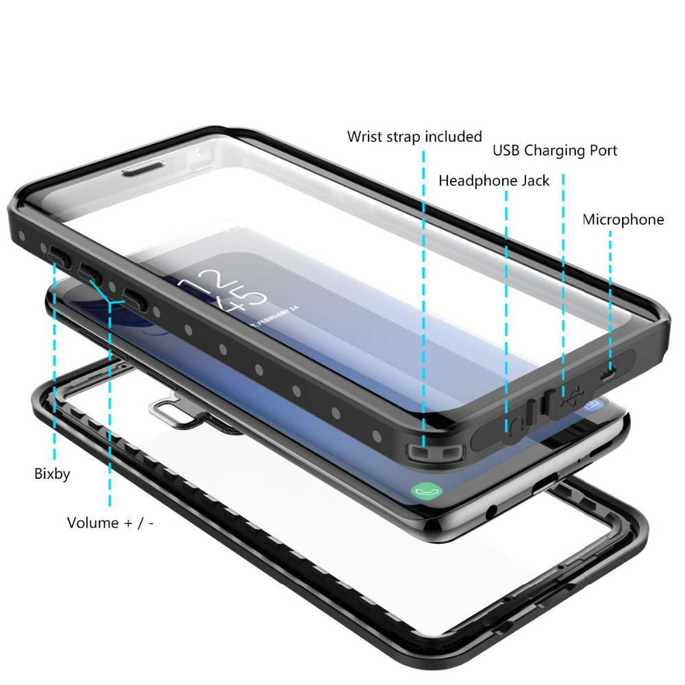 waterproof Case for Samsung Galaxy S9 Shockproof Dirtproof Full Sealed Cases surf Cover for Samsung S 9 S9 Plus Swimming Case in Fitted Cases from Cellphones Telecommunications