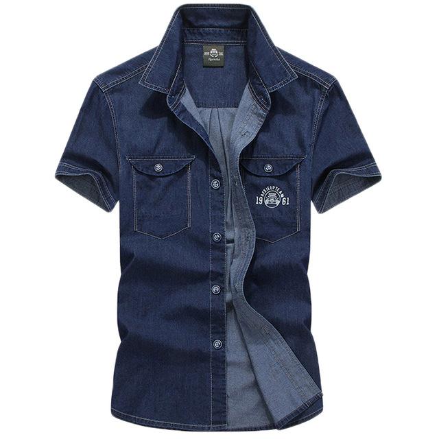 ¡ Caliente! 2017 Nuevos Hombres Jeans Camisas de Algodón de Verano Tops camisa de Estampado de Flores de Manga Corta Denim Lavado con Agua Masculina De Los Hombres 60hfx
