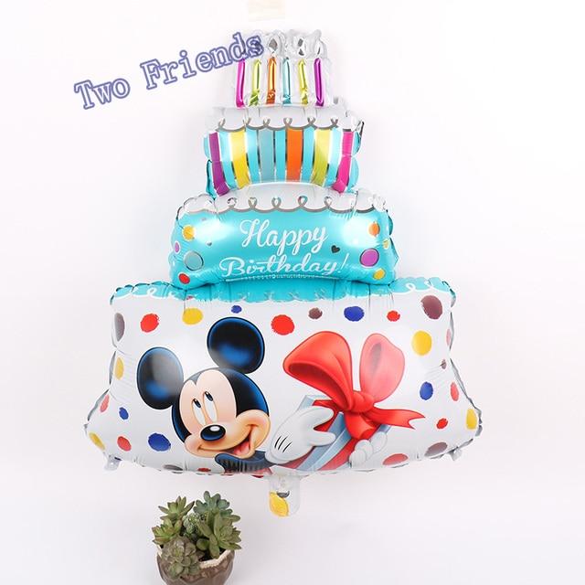 30ppcs Large Mickey Minnie Birthday Cake Foil Balloons Cartoon