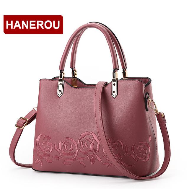 Luxury Women Leather Handbag Women Messenger Bag Female Leather Shoulder Bag Women's Embroidery Flower Handbag sac a main