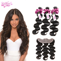 8A Brazilian Virgin Hair With Closure Lace Frontal With Bundles Brazilian Body Wave With Closure 3 Bundles With Frontal Closure