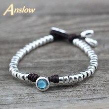 Anslow Fashion Jewelry Sweet Korean Handmade Diy Bijoux Charm Friend Women Lady Female Leather Bracelet Candy Color LOW0749LB