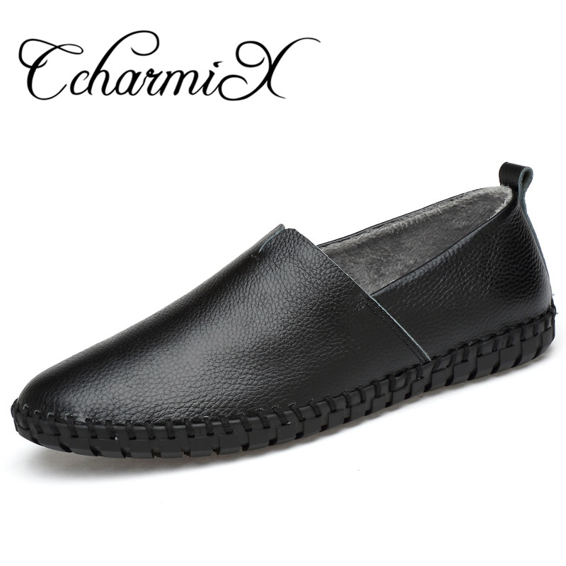 CcharmiX Genuine Leather Mens Casual Loafers Fashion Handmade Winter Moccasins Men Blue Slip On Driving Flats Men's Boat Shoes new style comfortable casual shoes men genuine leather shoes non slip flats handmade oxfords soft loafers luxury brand moccasins