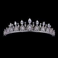 Vintage Royal Crown Green AAA CZ Tiara for Bridal Wedding Hair Jewelry and Women Birthday Party Crowns TR15038