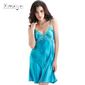 ERAEYE Plus Size Faux Slik Satin Lace Women Nightgown Sexy Princess Pyjamas Lingerie Sleepwear Deep V Spaghetti Strap Housecoat