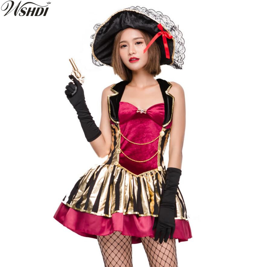 US $18 67 25% OFF|Ladies Captain Pirate Wench Costume Adults Caribbean  Pirates Fancy Dress Deluxe Womens Buccaneer Halloween Party Outfit-in Movie  &