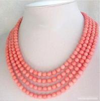 حار بيع اسلوب جديد>> 4 صفوف 6 ملليمتر وردي أحمر المرجان الأبيض مطلي المشبك قلادة