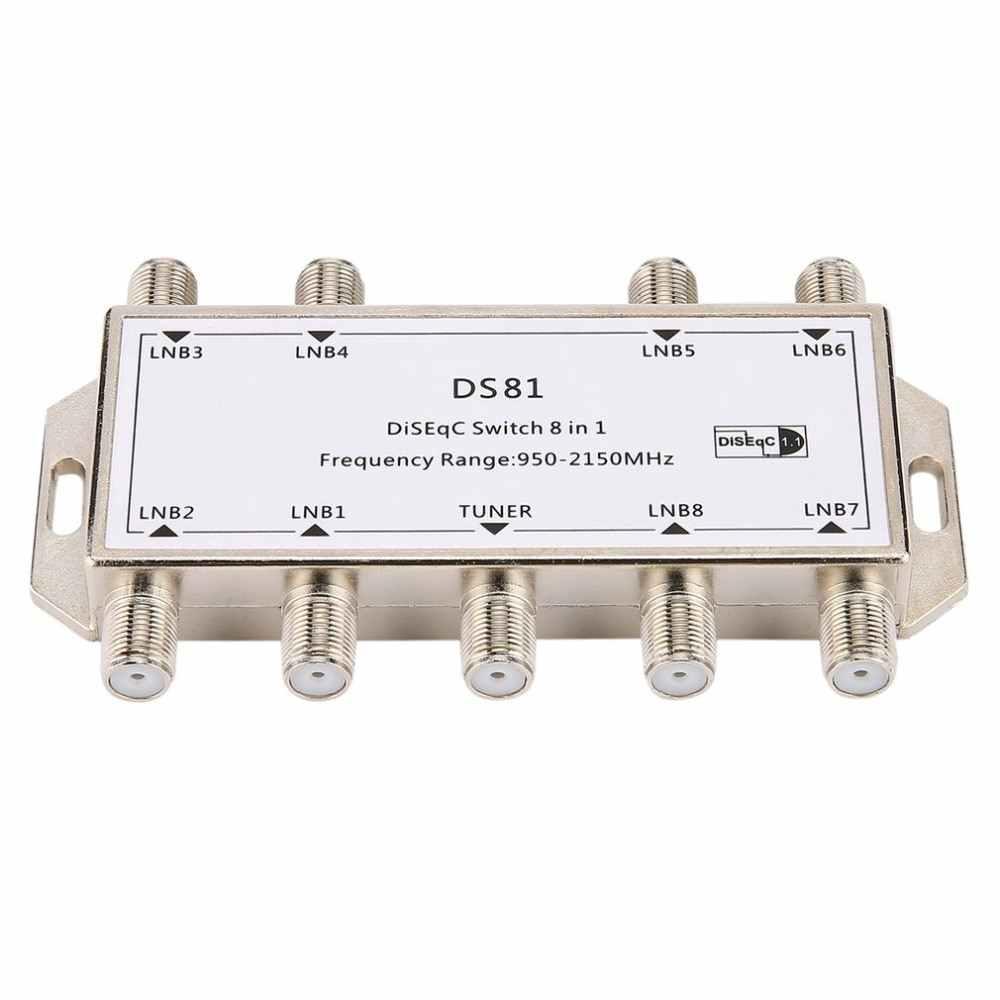 DS81 8 в 1 спутниковый сигнал DiSEqC переключатель приемник LNB Multiswitch сверхмощный цинк литой хром обработанный