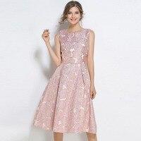 La MaxPa Hot Sale Lady Midi O Neck Runway Dresses Elegant Women Clothes Sleeveless Fashion Pink Summer Lace Party Dress 2019