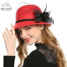 Jazz Hat Flower Wool-Felt Fedora-Cap Wedding-Hats Church Autumn Winter Women Ladies WELROG