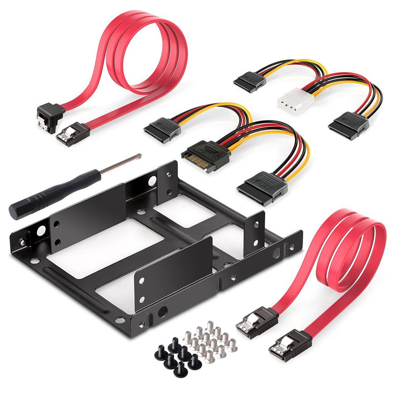 2-Bay 2.5 Inch to 3.5 Inch External HDD SSD Metal Mounting Kit Adapter Bracket With SATA Data Power Cables & Screws 100% brand new metal 2 5 inch ssd hdd to 3 5 inch metal mounting adapter bracket dock for pc ssd black moulde