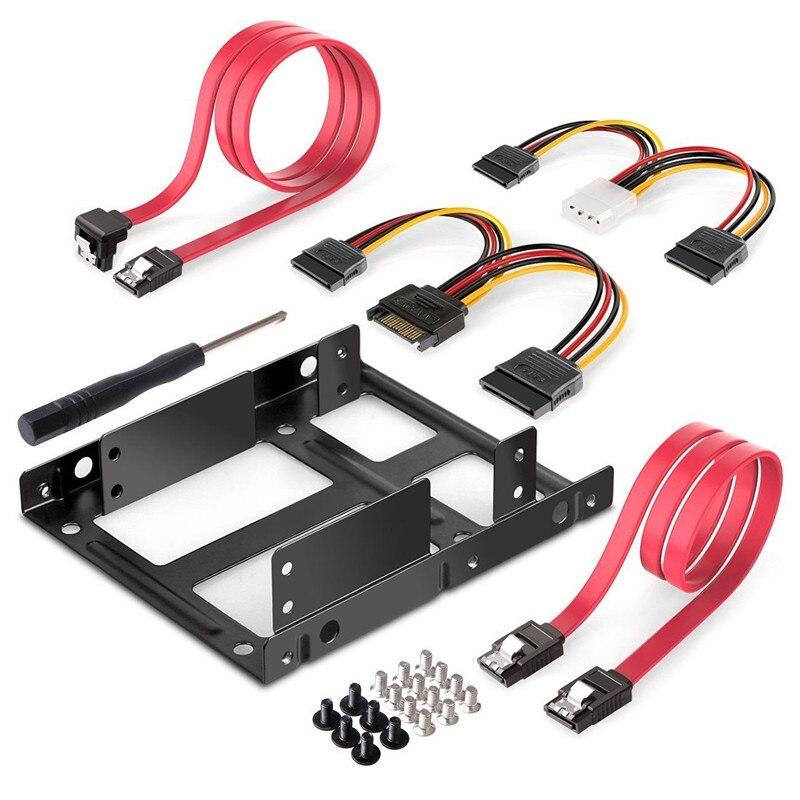 2-bay 2.5 Polegada a 3.5 Polegada externo hdd ssd metal montagem kit adaptador suporte com dados sata cabos de alimentação & parafusos