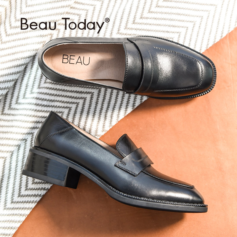 BeauToday Loafers Women Top Brand Cow Leather Square Toe Slip On Style Flats Lady Genuine Leather
