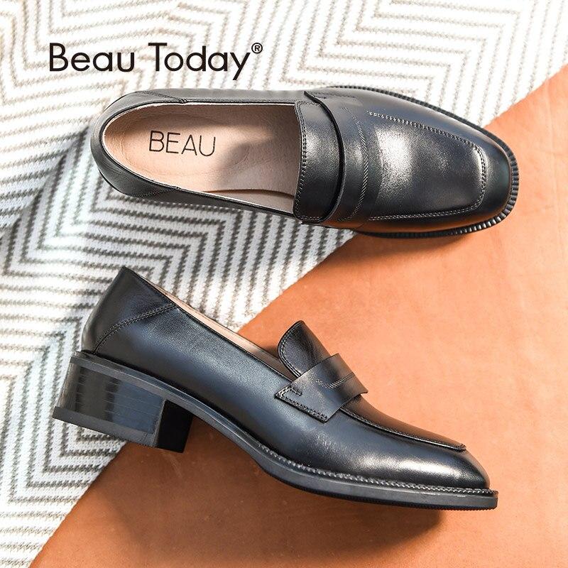 BeauToday Loafers ผู้หญิงยี่ห้อ Cow หนังสแควร์ Toe Slip   On แฟลตสไตล์ Lady รองเท้าหนังวัวแท้ Handmade 21608-ใน รองเท้าส้นเตี้ยสตรี จาก รองเท้า บน   1