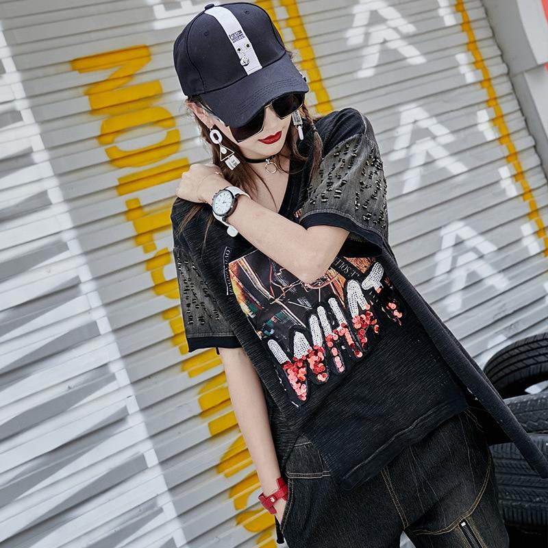 Punk Holes Tees Tee Shirt 2019 Women Summer Basic T shirts Vintage Shirts Punk Top Tee Sequins Tops Short Sleeve LT227S50