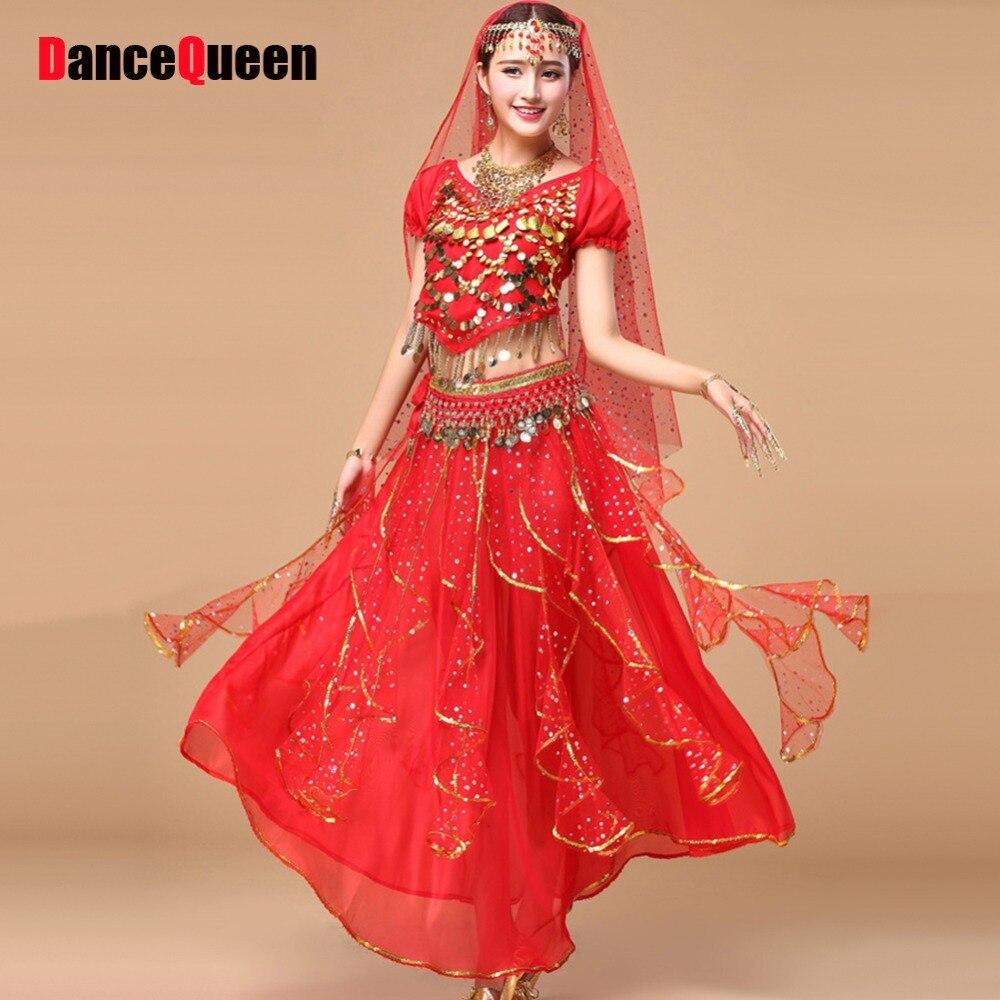 2017 Bollywood Costumes de danse 5 pièces (haut + jupe + chaîne de taille + voile + chapeaux) Costume de danse du ventre robes indiennes jupe de danse du ventre