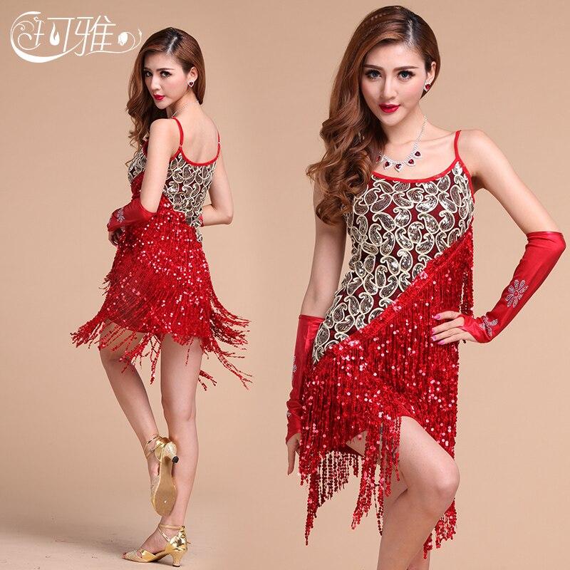 Buy Cheap 2017 New Latin Dresses Latin Dancewear Sexy Plus Size Salsa Dress Tassel Sequin Costumes Silver Black Blue Red Latin Dance Skirt