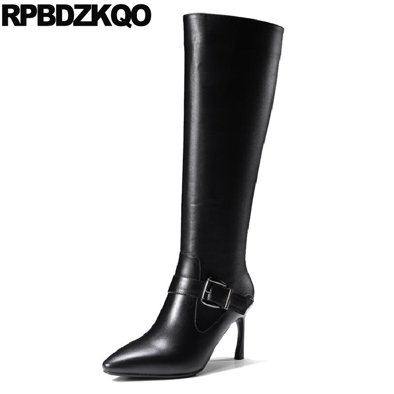 Pointed Toe Black Stiletto Brand Women Winter Boots Genuine Leather Sexy High Heel 2017 Long Fur Designer Metal Knee Shoes Size new beige black leather women fashion knee high boots sexy gold metal chain design golden sequined pointed toe long w boots