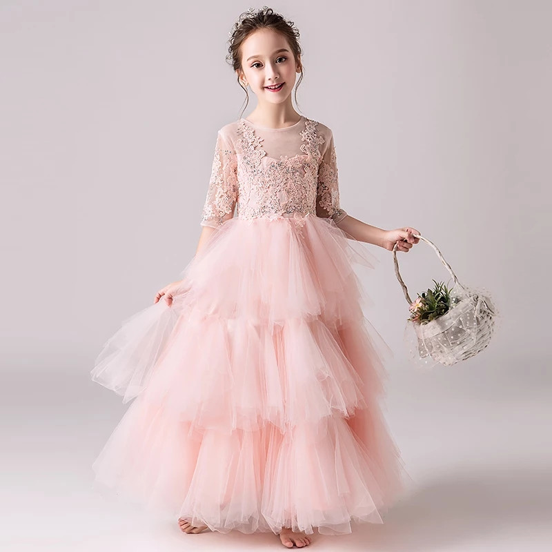 2018 Autumn O-Neck Sweet Pink Color Half Sleeves Children Girls Birthday Evening Party Mesh Layers Long Dress Baby Kids Dress