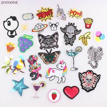 ZOTOONE Unicorn Embroidery Patch UFO Turkey Butterfly Banana Dog Bike Patch For Clothing Iron On Heart Patches DIY Logo Badges A image
