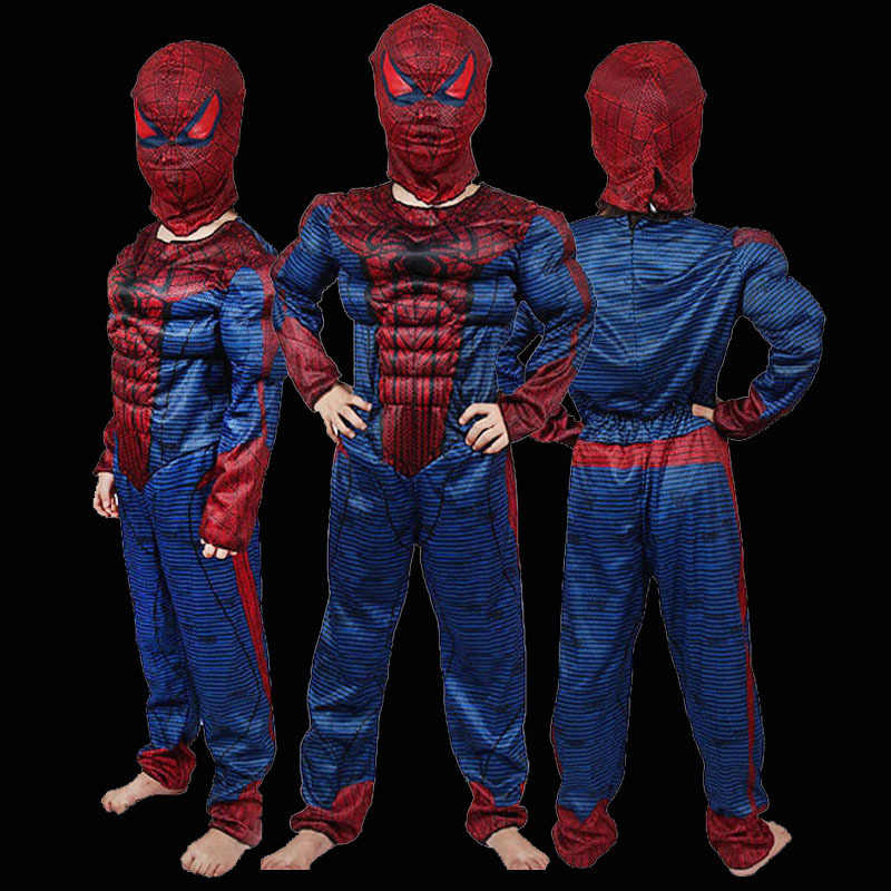 Sale <font><b>Amazing</b></font> <font><b>Spiderman</b></font> Movie Classic <font><b>Muscle</b></font> Child halloween <font><b>costume</b></font> for <font><b>kids</b></font> disfraces infantiles superheroes fancy dress S M L