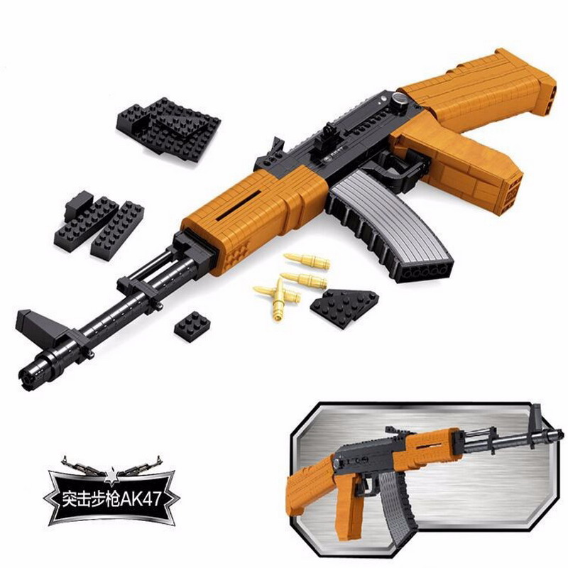 22706 AUSINI Military AK47 Weapons Gun Assault Rifle Model Building Blocks Enlighten Figure Toys For Children Compatible Legoe 1 3 stainless steel ak47 assault rifle display model toy black silver coffee