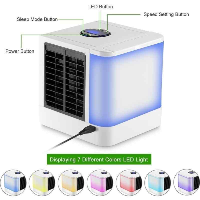 2020 جديد USB مرطبات مكيف هواء صغير مع 7 ألوان ضوء المحمولة الفضاء طاولة مبردة الهواء المشجعين جهاز للتبريد