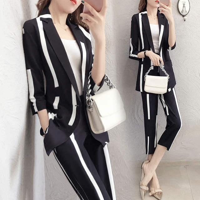 89a0aa4de43 Striped Two Piece Set Top And Pants Office Work Survetement Femme 2 Piece  Formal Conjunto Feminino Women s Summer Suit