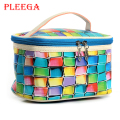 PLEEGA Brand Women Cosmetic Bag Fashion Color Lattice Portable Makeup Bag PU Travel Bag  Jewelry Makeup Organizers Cosmetic Bag