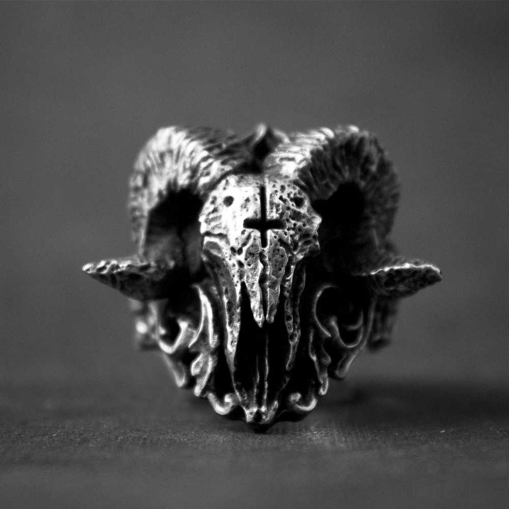 Độc Đáo Punk Gothic Thổ Dục Hồn Quỷ Sorath Đầu Lâu Nhẫn Nam 316L Thép Không Gỉ Biker Vòng Baphomet Món Quà Trang Sức