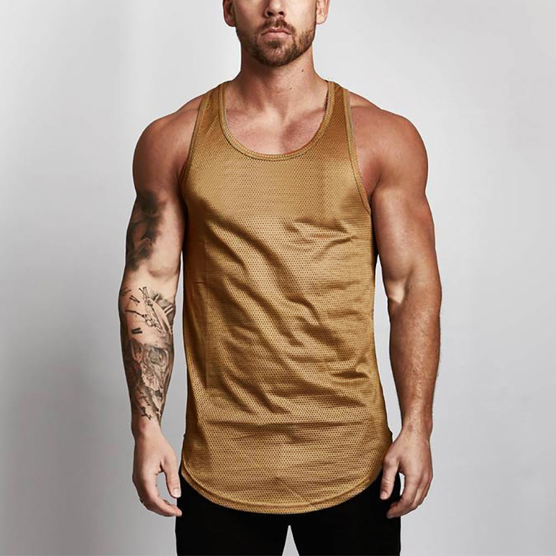 Brand Blank Bodybuilding Stringer   Tank     Tops   Mesh Sportswear Tanktop Fitness Men Gyms Clothing Muscle Sleeveless shirts